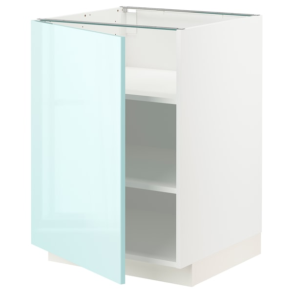 METOD Mobile base con ripiani, bianco Järsta/lucido turchese chiaro, 60x60 cm