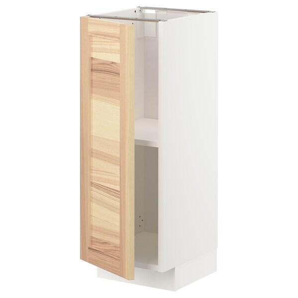 METOD Mobile base con ripiani, bianco/Torhamn frassino, 30x37 cm