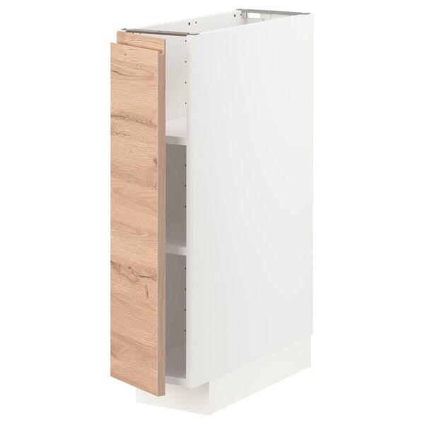 METOD Mobile base con ripiani, bianco/Voxtorp effetto rovere, 20x60 cm