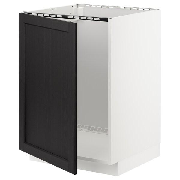 METOD Mobile base per lavello, bianco/Lerhyttan mordente nero, 60x60 cm