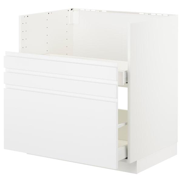 METOD Mobile lavello BREDSJÖN/2fron/2cass, bianco/Voxtorp bianco opaco, 80x60 cm