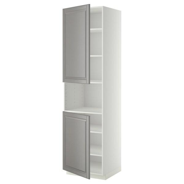 METOD Mobile microonde, 2 ante/ripiani, bianco/Bodbyn grigio, 60x60x220 cm