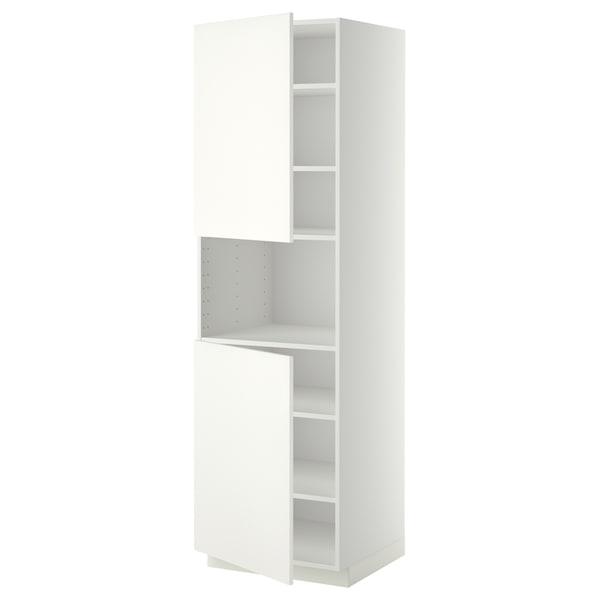 METOD Mobile microonde, 2 ante/ripiani, bianco/Häggeby bianco, 60x60x200 cm