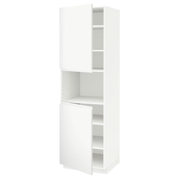METOD Mobile microonde, 2 ante/ripiani, bianco/Voxtorp bianco opaco, 60x60x200 cm
