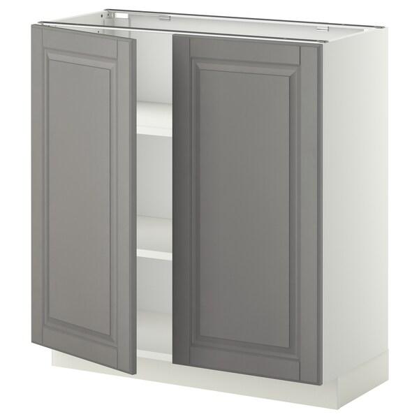 METOD Mobile/ripiano/2 ante, bianco/Bodbyn grigio, 80x37 cm
