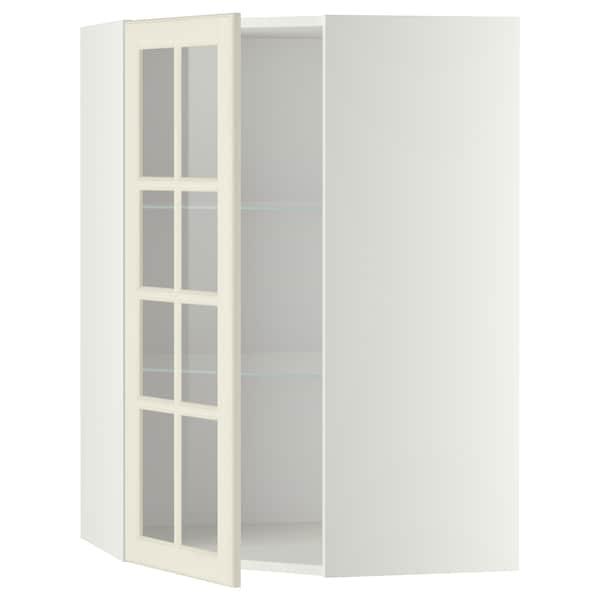 METOD Pensile angolare/ripiani/anta vetro, bianco/Bodbyn bianco sporco, 68x100 cm