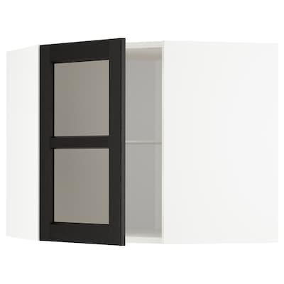 METOD Pensile angolare/ripiani/anta vetro, bianco/Lerhyttan mordente nero, 68x60 cm