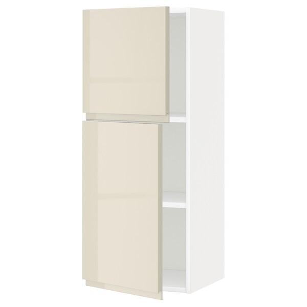 METOD Pensile con ripiani/2 ante, bianco/Voxtorp beige chiaro lucido, 40x100 cm