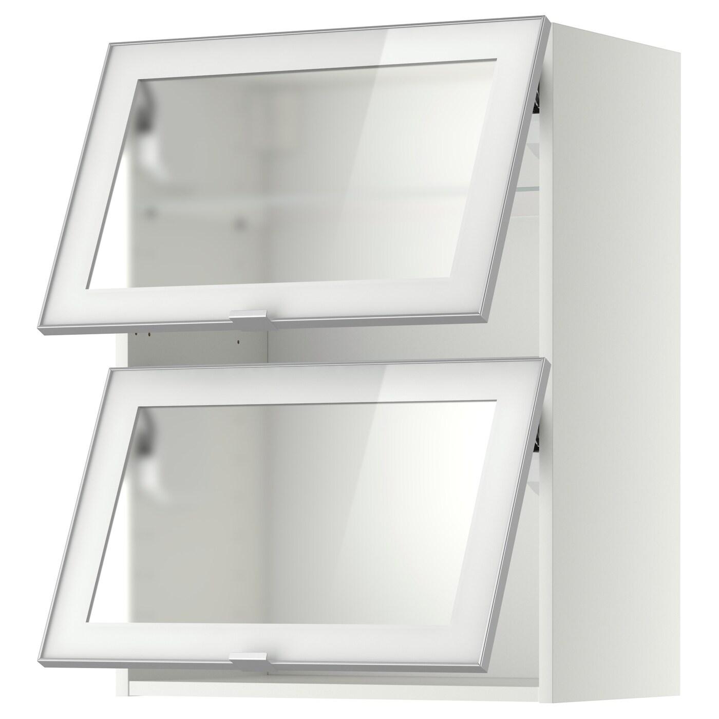 METOD Pensile orizzontale/2 ante a vetro, bianco, Jutis vetro smerigliato