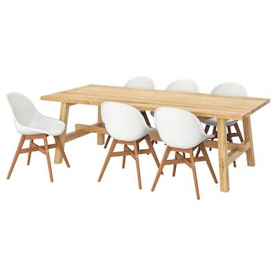 MÖCKELBY / FANBYN Tavolo e 6 sedie, rovere/bianco, 235x100 cm