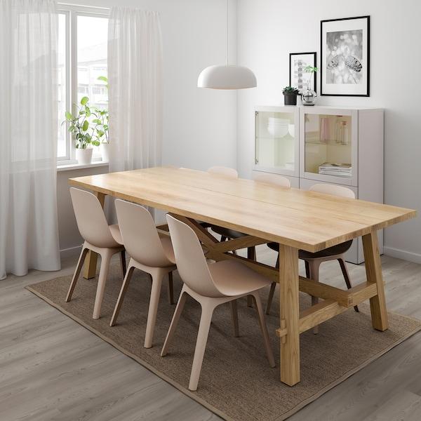 MÖCKELBY / ODGER Tavolo e 6 sedie, rovere/bianco/beige, 235x100 cm