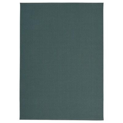 MORUM Tappeto tessitura piatta int/est, grigio/turchese, 160x230 cm