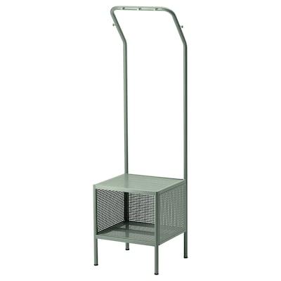 NIKKEBY Stand appendiabiti, grigio-verde, 40x142 cm