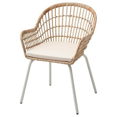 NILSOVE / NORNA Sedia con cuscino, rattan bianco/Laila naturale