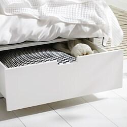 NORDLI - Struttura letto con cassetti, bianco