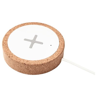 NORDMÄRKE Caricabatteria wireless, bianco/sughero