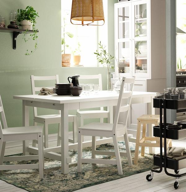 NORDVIKEN Tavolo e 4 sedie, bianco/bianco, 152/223x95 cm