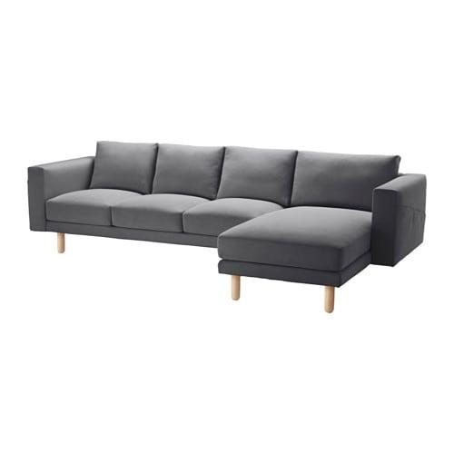 NORSBORG Divano a 4 posti - Finnsta grigio scuro, betulla - IKEA