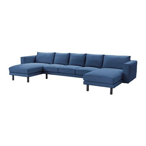 Norsborg divano 3 posti con 2 chaise longue edum blu scuro grigio ikea - Divano 4 posti con chaise longue ...