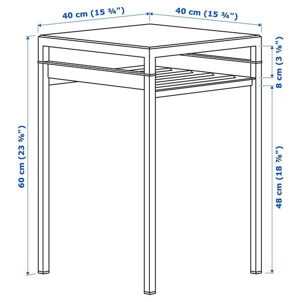 NYBODA Tavolino con piano reversibile, grigio scuro effetto cemento/nero, 40x40x60 cm