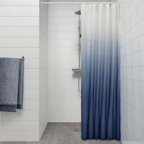 NYCKELN Tenda doccia, bianco/blu scuro, 180x200 cm