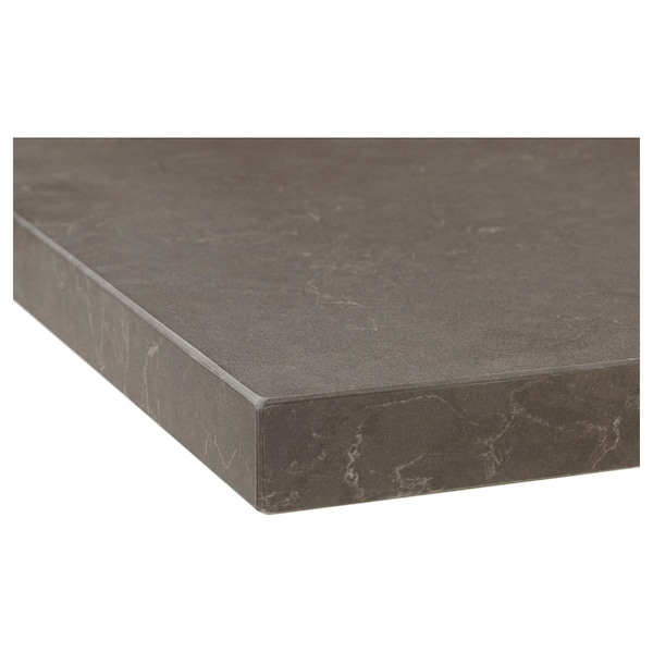 OXSTEN Piano di lavoro su misura, grigio scuro opaco/effetto marmo quarzo, 30-45x3.8 cm