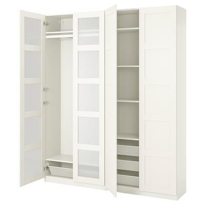 PAX / BERGSBO Combinazione di guardaroba, bianco/vetro smerigliato, 200x38x236 cm