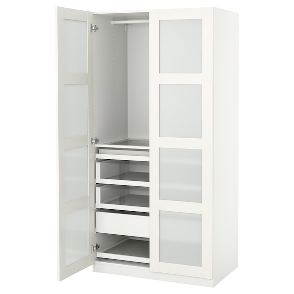 PAX / BERGSBO Combinazione di guardaroba, bianco/vetro smerigliato, 100x60x201 cm