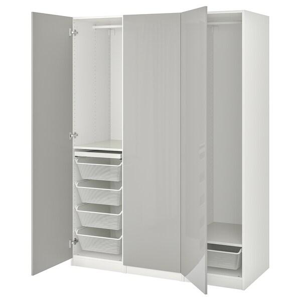 PAX / FARDAL Combinazione di guardaroba, bianco/grigio chiaro lucido, 150x60x201 cm