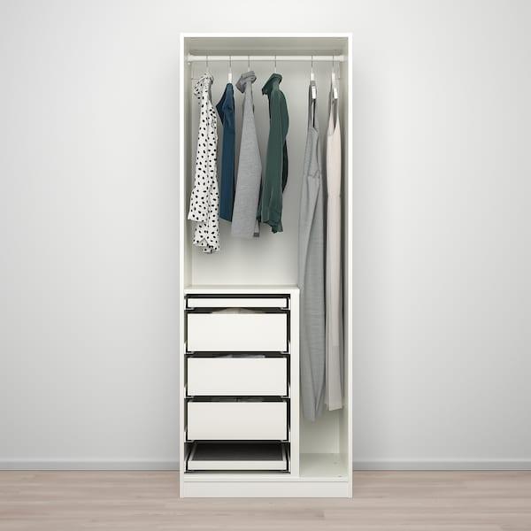 PAX / FORSAND/ÅHEIM Combinazione di guardaroba, bianco/vetro a specchio, 75x60x201 cm