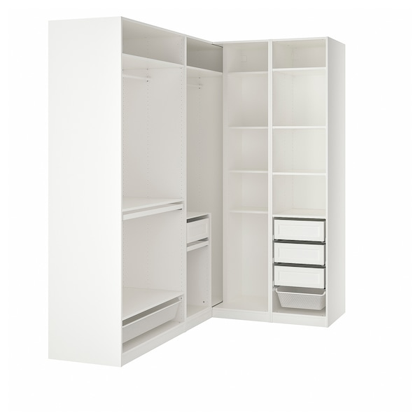 PAX Guardaroba angolare, bianco, 210/160x236 cm