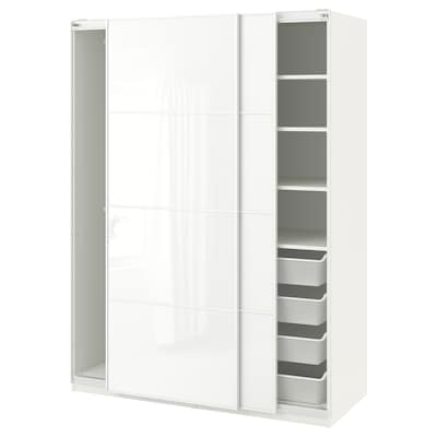 PAX Guardaroba, bianco/Färvik vetro bianco, 150x66x201 cm