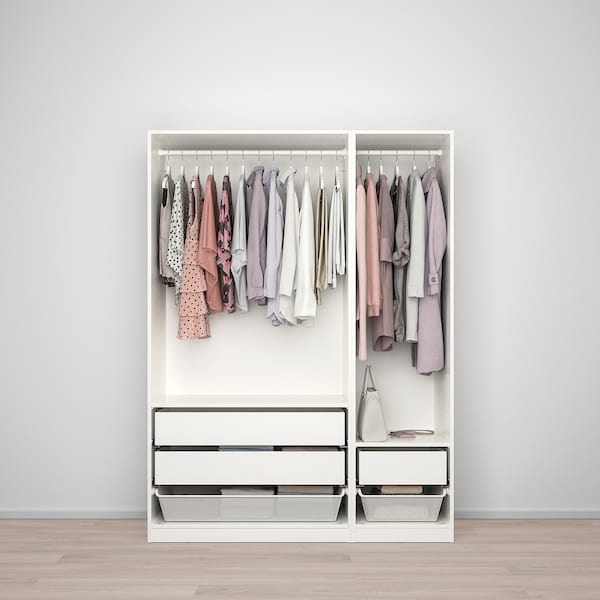 PAX Guardaroba, bianco/Fardal lucido/bianco, 150x60x201 cm