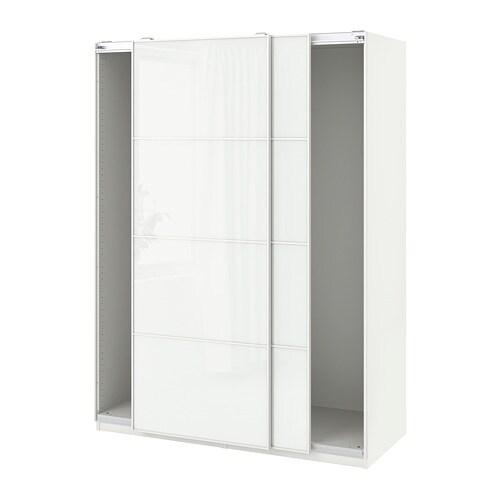 Ante Per Armadio Pax Ikea.Pax Guardaroba Con Ante Scorrevoli Bianco Farvik Vetro Bianco