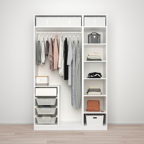 PAX / TYSSEDAL Combinazione di guardaroba, bianco/vetro a specchio, 150x60x236 cm