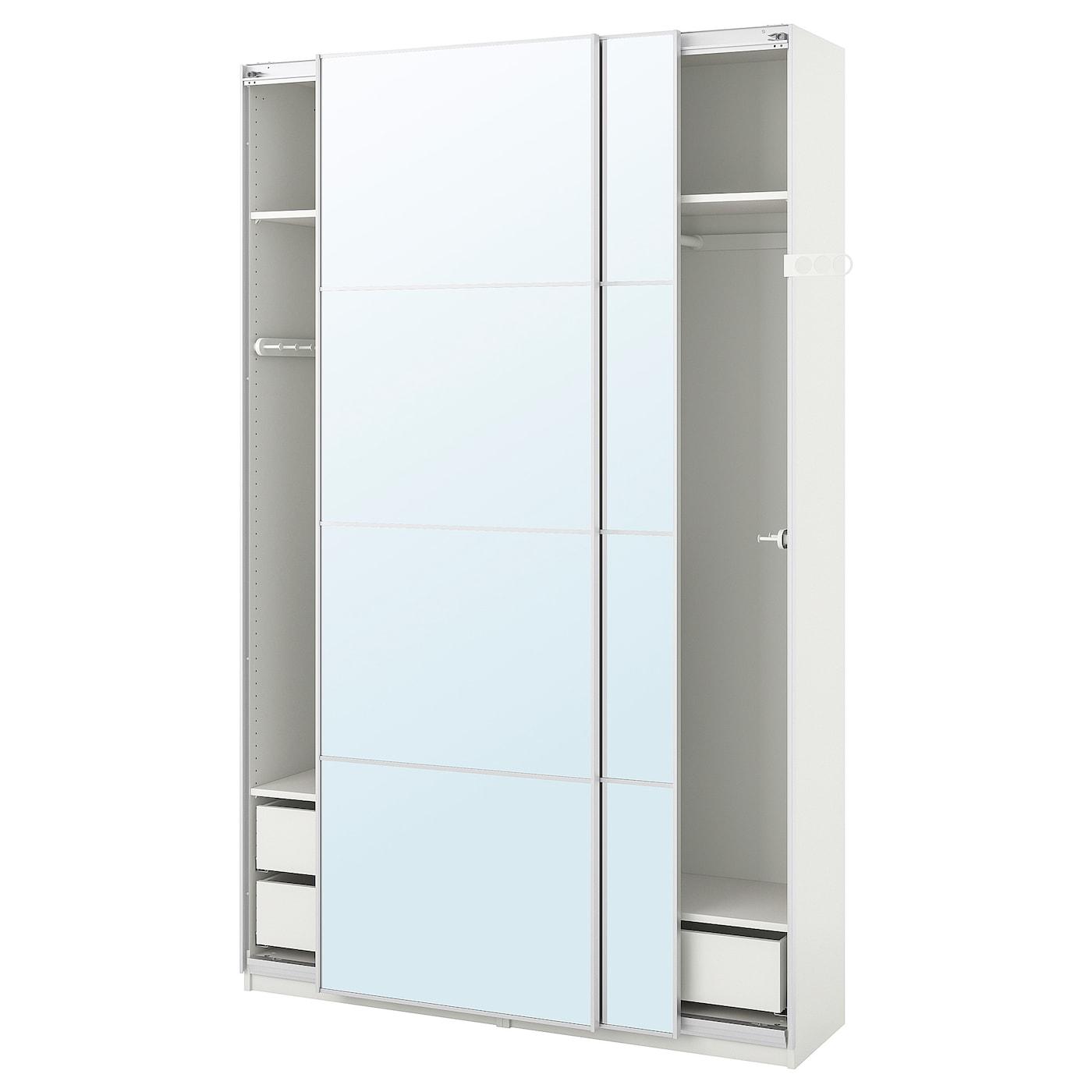 Armadio Ingresso Profondità Ridotta pax guardaroba - bianco, auli vetro a specchio 150x44x236 cm