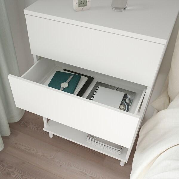 PLATSA Cassettiera con 2 cassetti, bianco/Fonnes, 60x42x93 cm