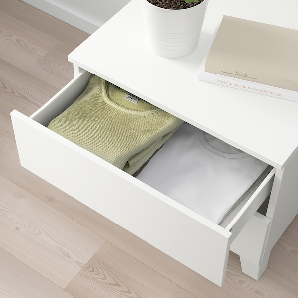 PLATSA cassettiera con 2 cassetti bianco/Fonnes bianco 60 cm 57 cm 53 cm