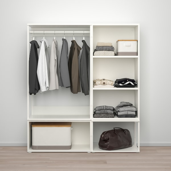PLATSA Guardaroba con 3 ante, bianco/Fonnes bianco, 140x42x161 cm