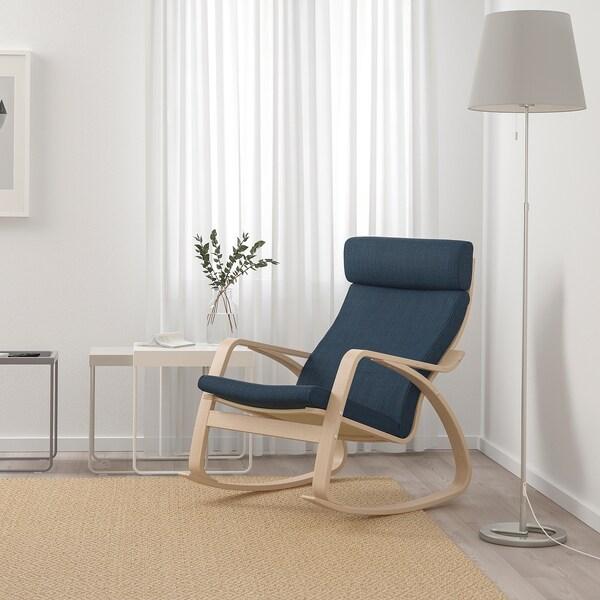 POÄNG sedia a dondolo impiallacciato rovere mord bianco/Hillared blu scuro 68 cm 94 cm 95 cm 56 cm 50 cm 45 cm