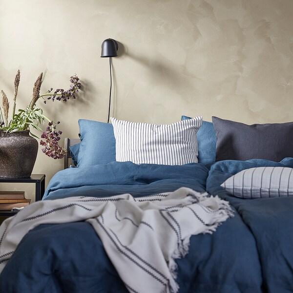 PUDERVIVA Copripiumino e federa, blu scuro, 150x200/50x60 cm