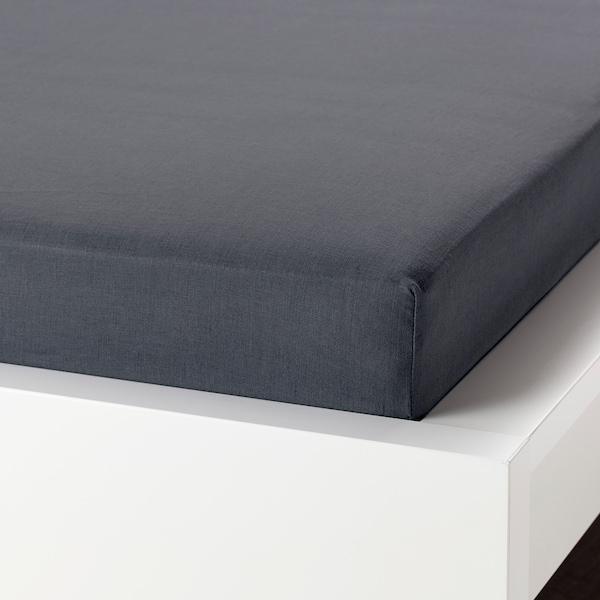 PUDERVIVA Lenzuolo con angoli, grigio scuro, 180x200 cm