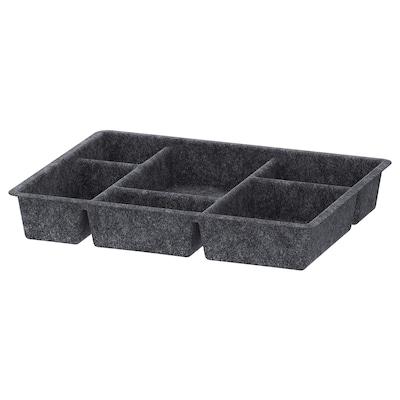RAGGISAR Contenitore a scomparti, grigio scuro, 40x30 cm