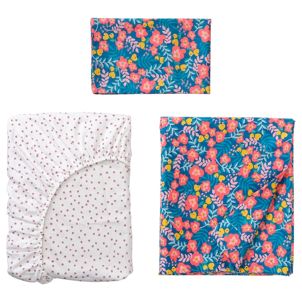 RÖRANDE Set biancheria per lettino, 3 pezzi, motivo floreale/blu rosa, 70x140 cm