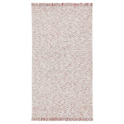 RÖRKÄR Tappeto, tessitura piatta, rosso/color naturale, 80x150 cm
