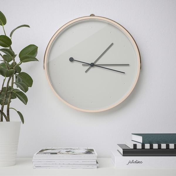 ROTBLÖTA Orologio da parete, impiallacciatura di frassino/grigio chiaro, 42 cm