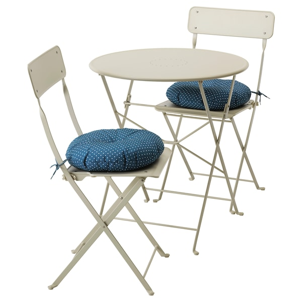 Ikea Sedie Giardino Pieghevoli.Saltholmen Tavolo 2 Sedie Pieghevoli Giardino Beige Ytteron Blu