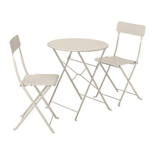 Ikea Sedie Giardino Pieghevoli.Saltholmen Tavolo 2 Sedie Pieghevoli Giardino Beige