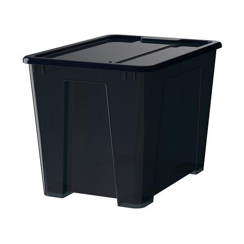 Samla scatola con coperchio nero 39x28x28 cm 22 l ikea - Scatole plastica ikea ...