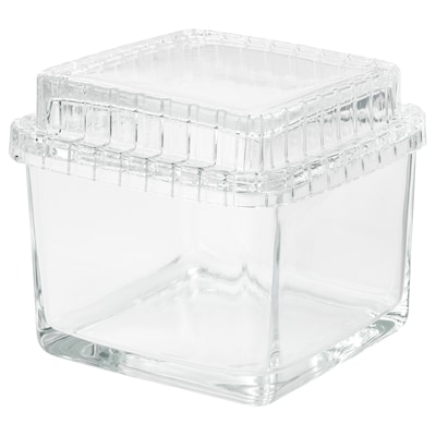 SAMMANHANG Scatola in vetro con coperchio, vetro trasparente, 13x13x12 cm